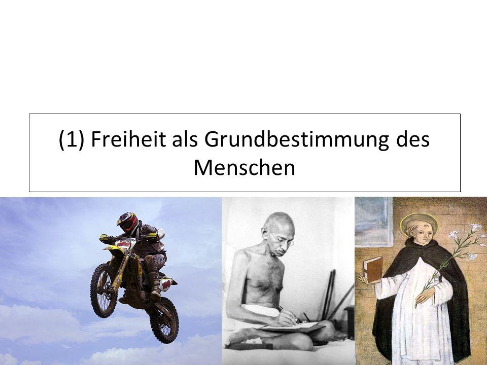 (1) Freiheit als Grundbestimmung des Menschen
