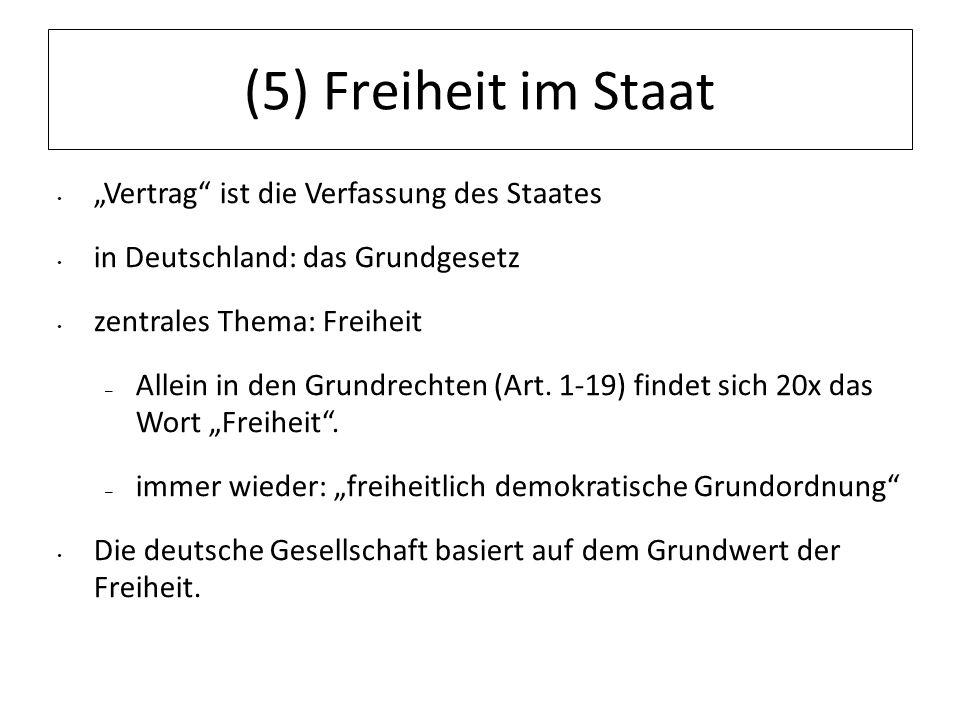 """(5) Freiheit im Staat """"Vertrag ist die Verfassung des Staates"""