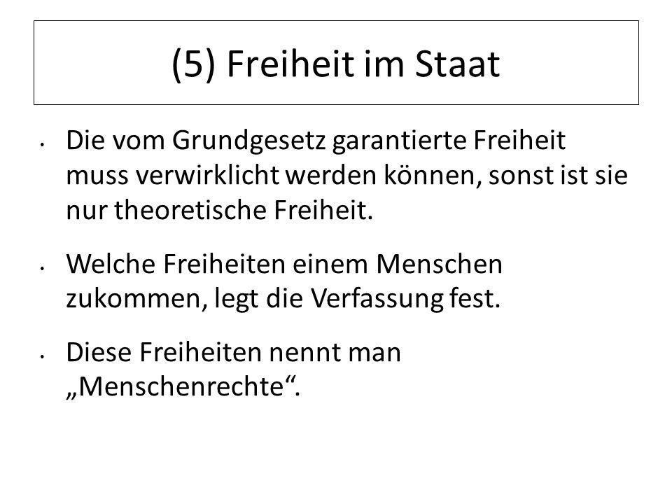 (5) Freiheit im StaatDie vom Grundgesetz garantierte Freiheit muss verwirklicht werden können, sonst ist sie nur theoretische Freiheit.