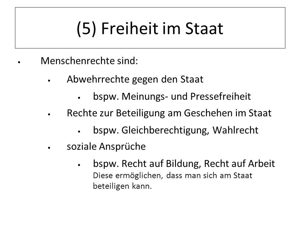 (5) Freiheit im Staat Menschenrechte sind: