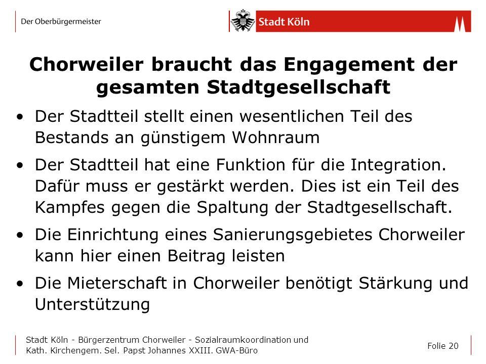 Chorweiler braucht das Engagement der gesamten Stadtgesellschaft
