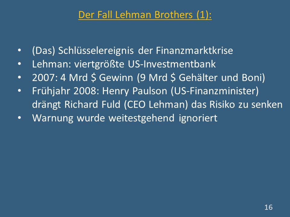 Der Fall Lehman Brothers (1):