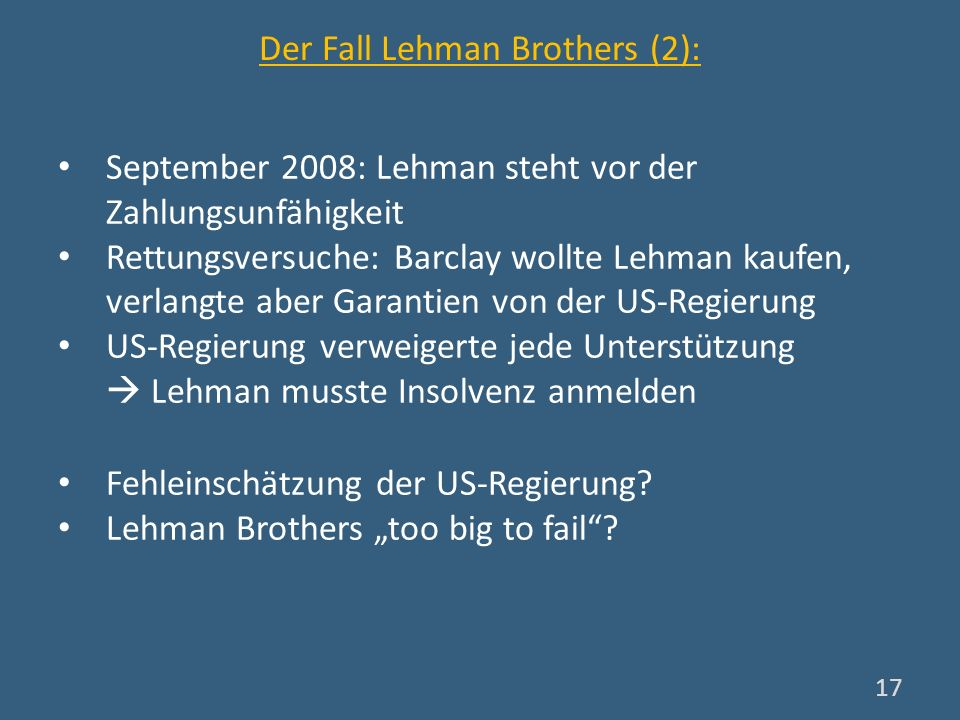 Der Fall Lehman Brothers (2):