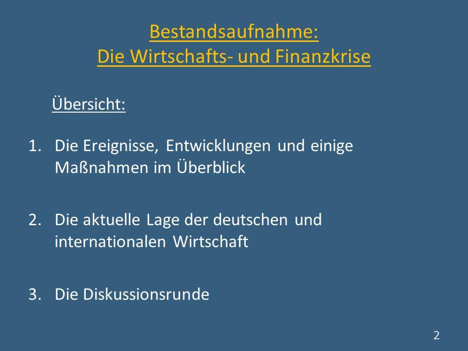 Bestandsaufnahme: Die Wirtschafts- und Finanzkrise