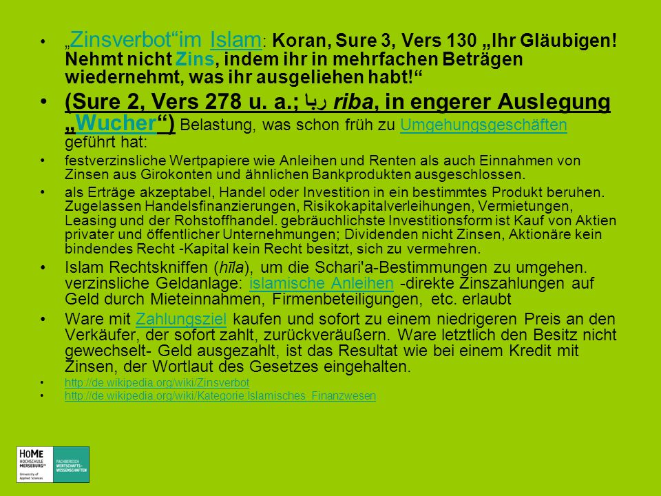 """""""Zinsverbot im Islam: Koran, Sure 3, Vers 130 """"Ihr Gläubigen"""