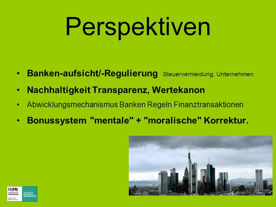 Perspektiven Banken-aufsicht/-Regulierung Steuervermeidung. Unternehmen. Nachhaltigkeit Transparenz, Wertekanon.