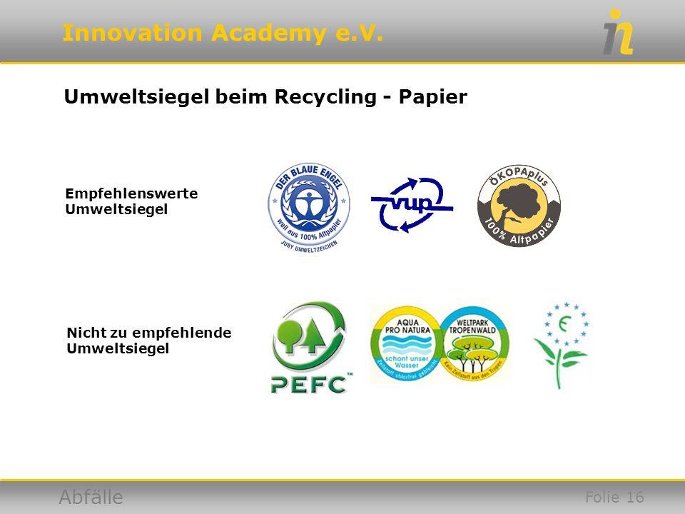 Umweltsiegel beim Recycling - Papier