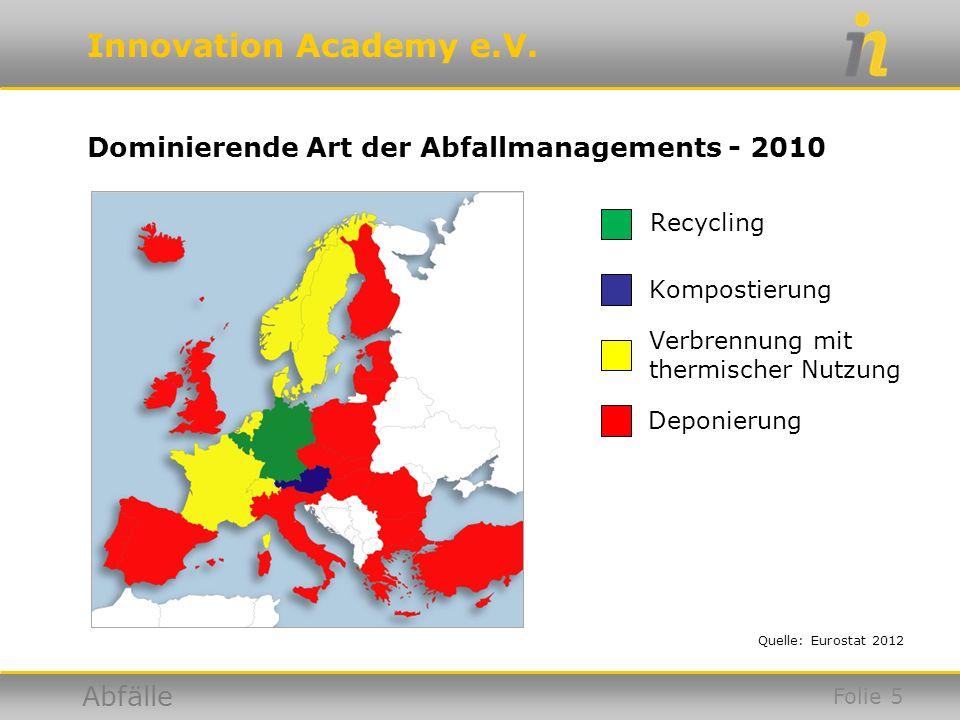 Dominierende Art der Abfallmanagements - 2010