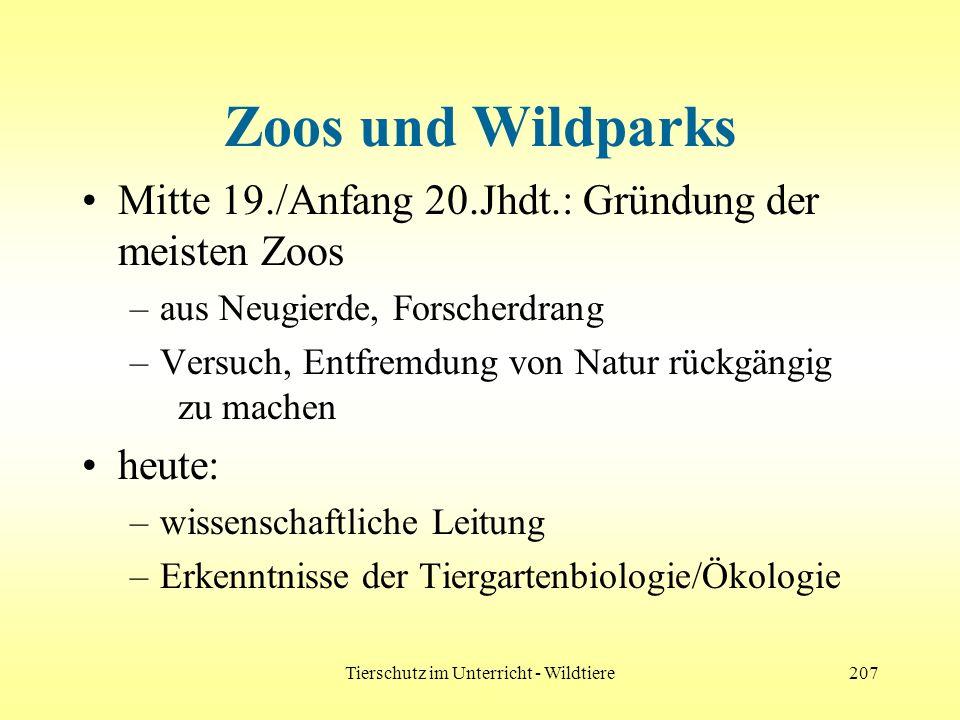 Tierschutz im Unterricht - Wildtiere