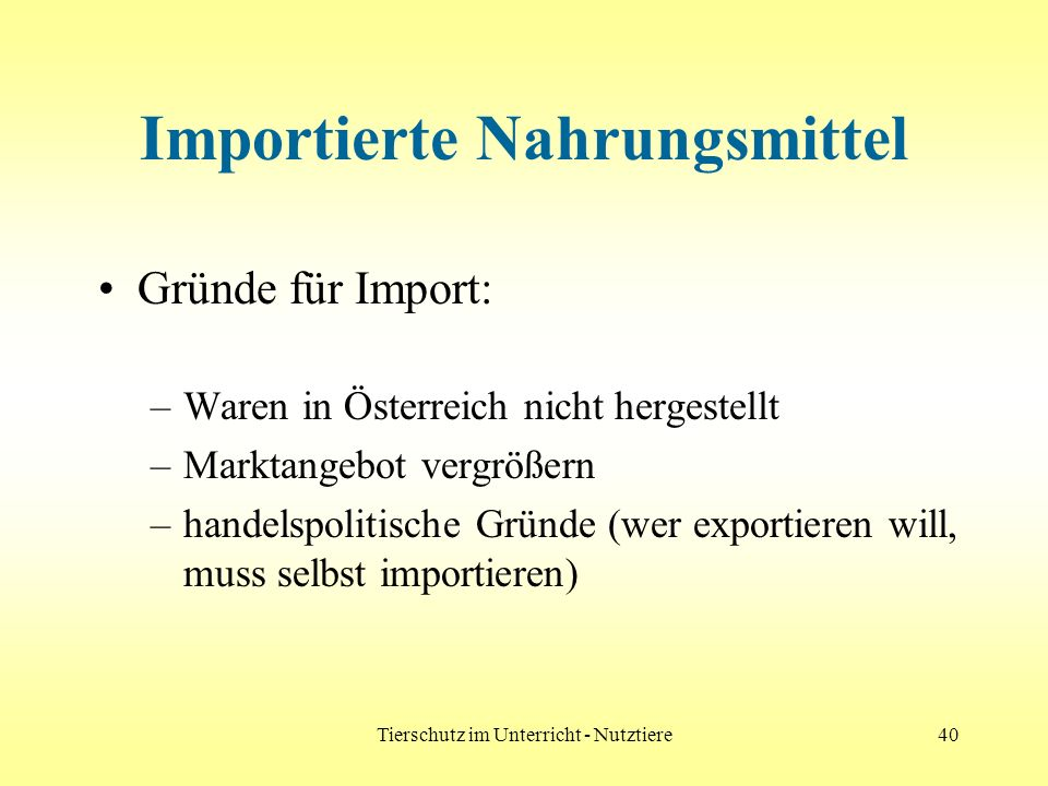 Importierte Nahrungsmittel