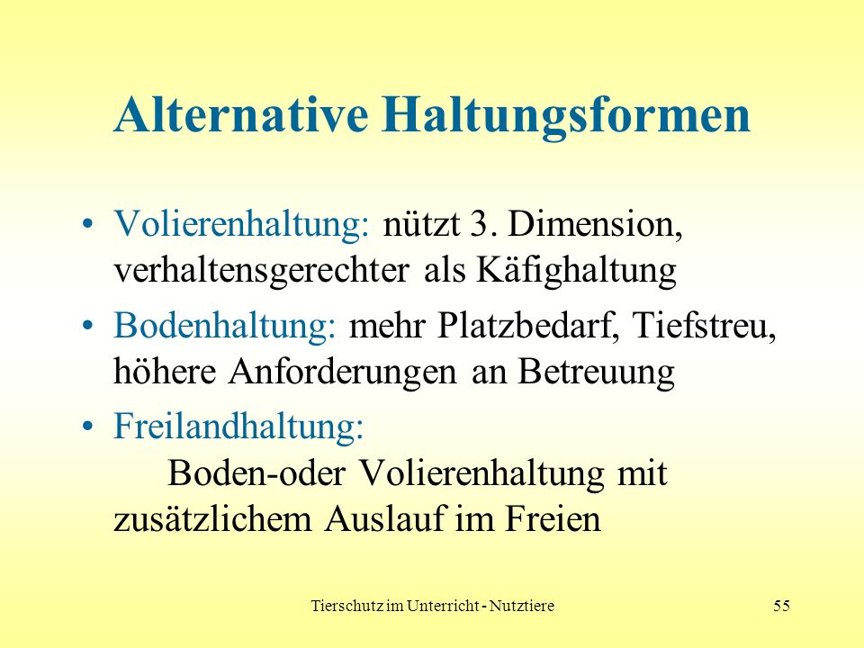 Alternative Haltungsformen