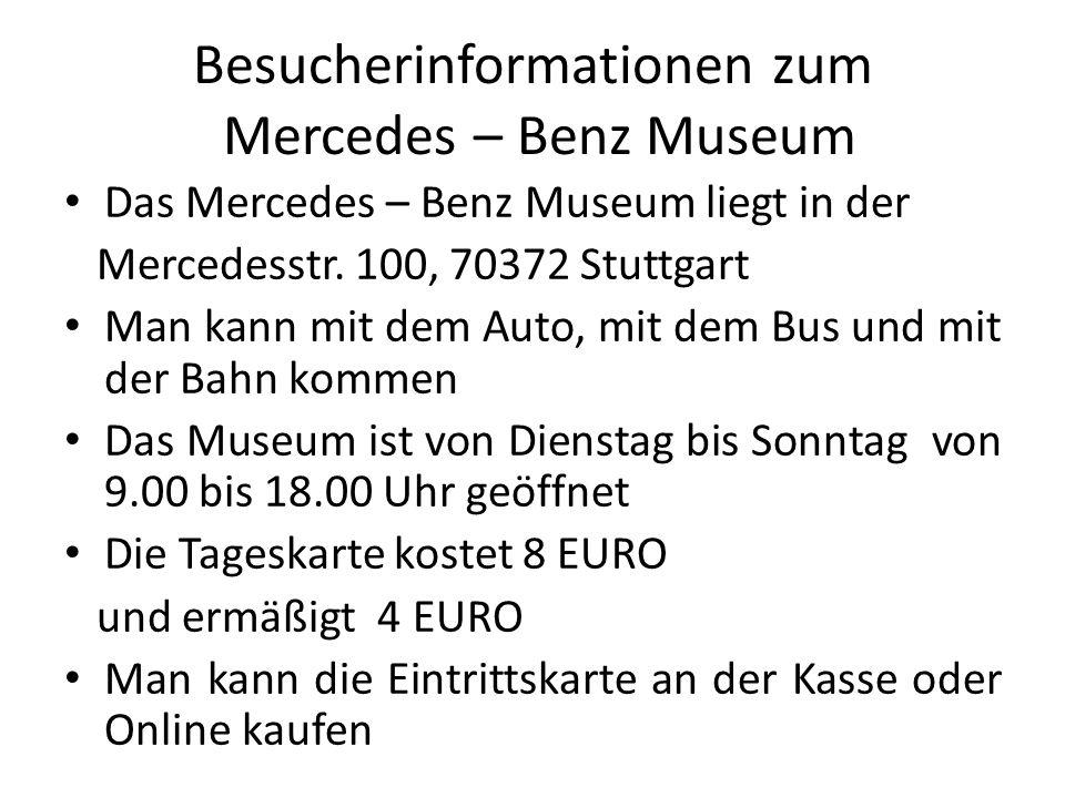 Besucherinformationen zum Mercedes – Benz Museum