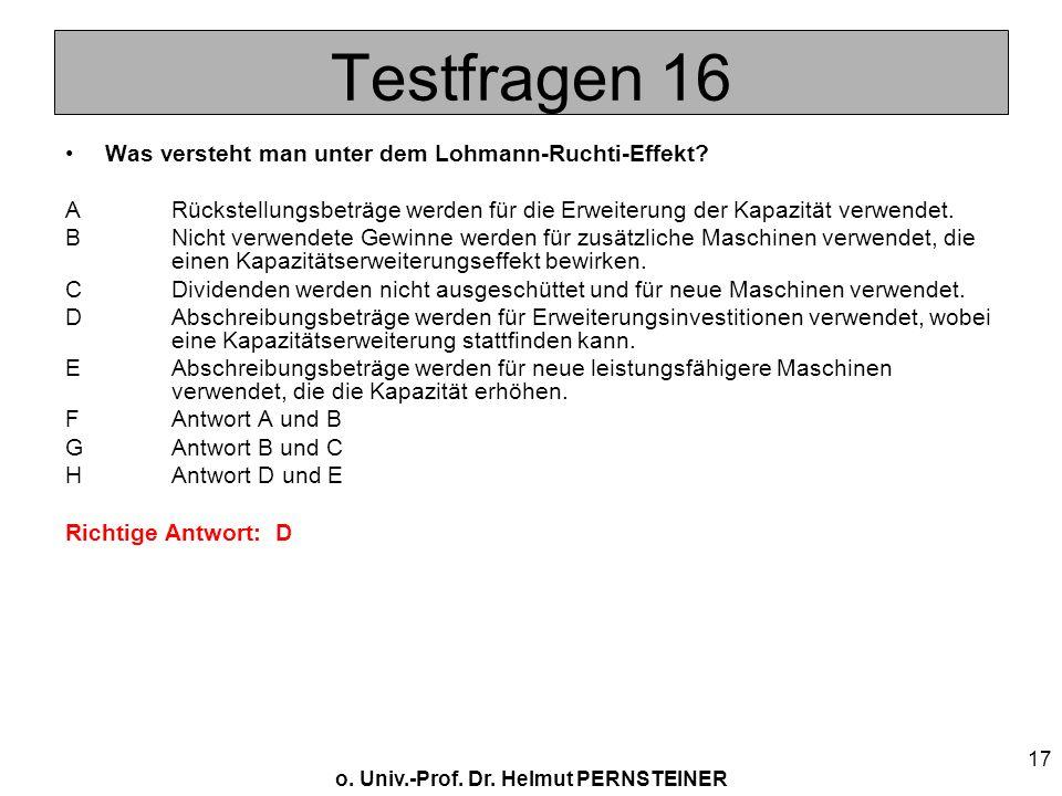 Testfragen 16 Was versteht man unter dem Lohmann-Ruchti-Effekt