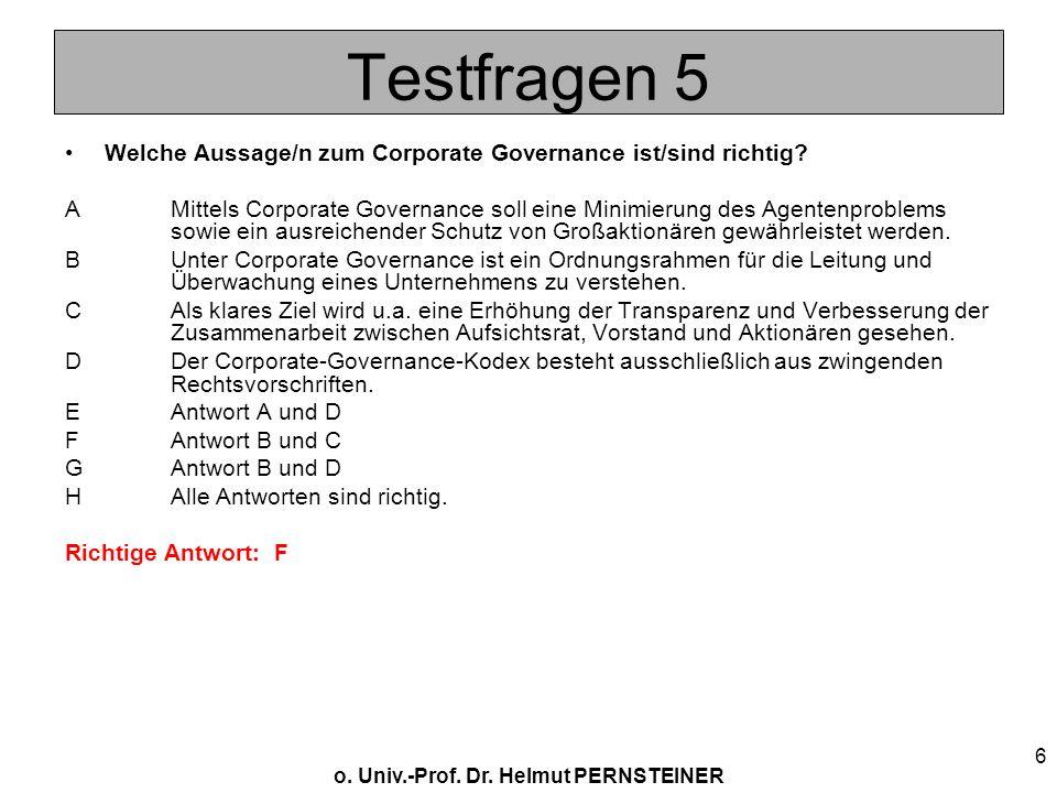 Testfragen 5 Welche Aussage/n zum Corporate Governance ist/sind richtig