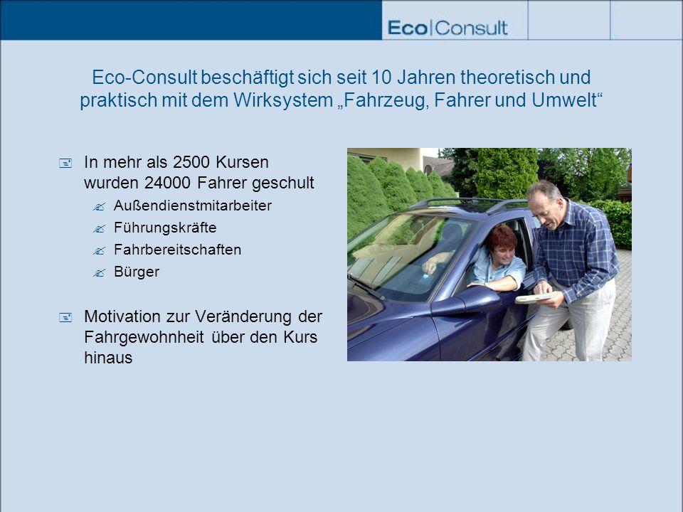 """Eco-Consult beschäftigt sich seit 10 Jahren theoretisch und praktisch mit dem Wirksystem """"Fahrzeug, Fahrer und Umwelt"""