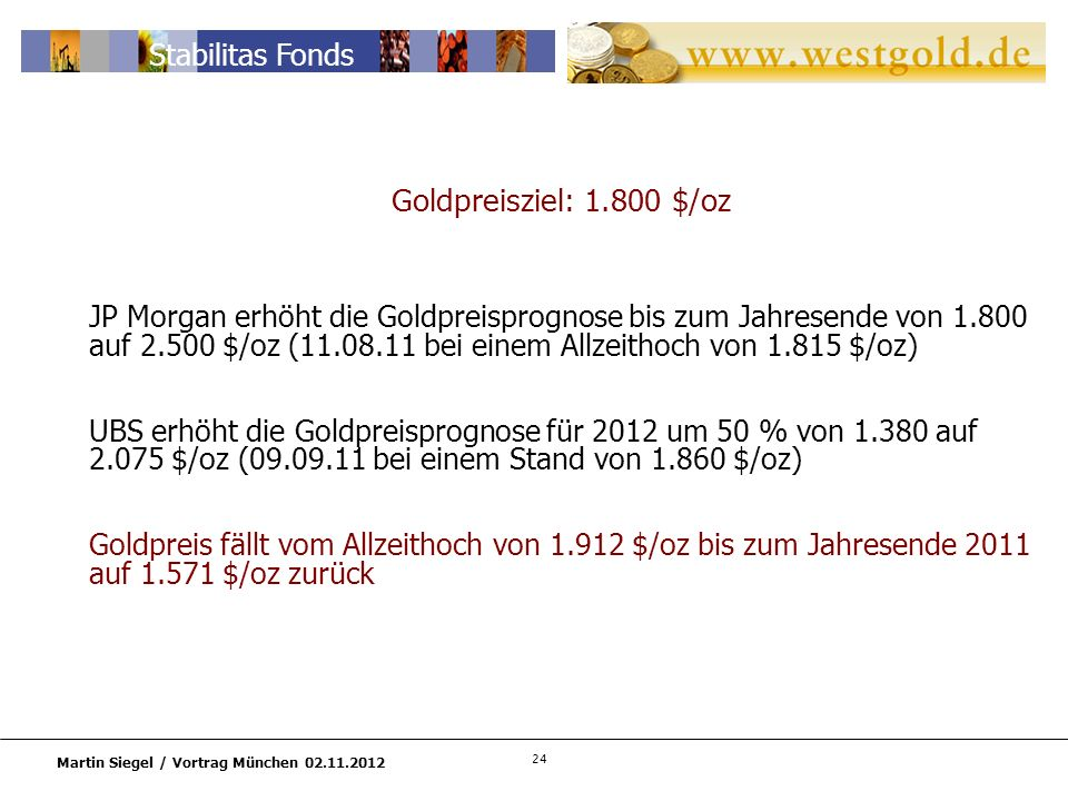 Goldpreisziel: 1.800 $/oz