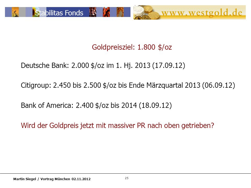 Citigroup: 2.450 bis 2.500 $/oz bis Ende Märzquartal 2013 (06.09.12)