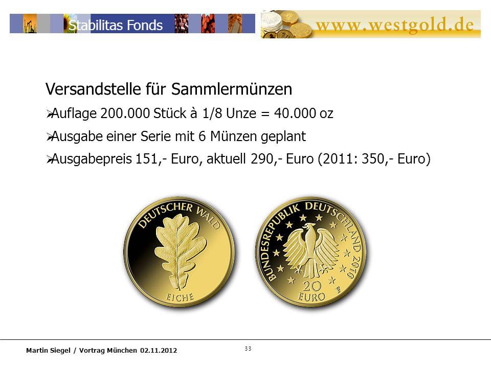 Versandstelle für Sammlermünzen