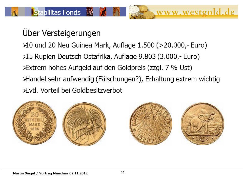 Über Versteigerungen 10 und 20 Neu Guinea Mark, Auflage 1.500 (>20.000,- Euro) 15 Rupien Deutsch Ostafrika, Auflage 9.803 (3.000,- Euro)