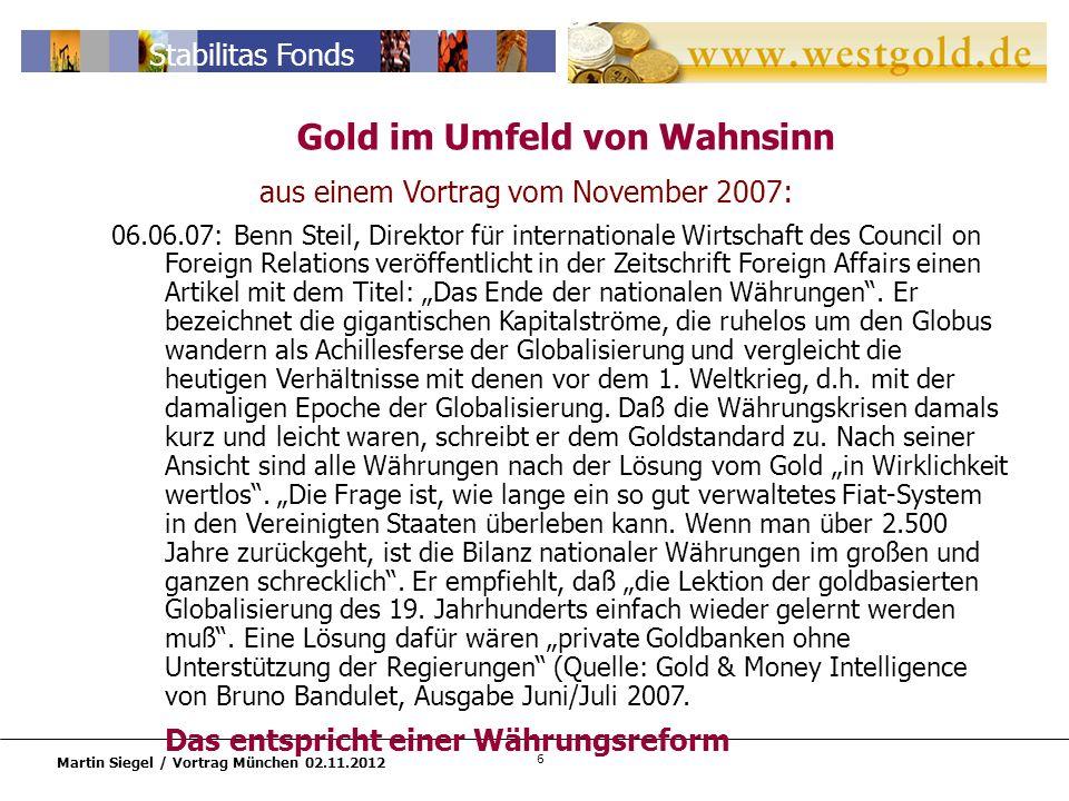 Gold im Umfeld von Wahnsinn