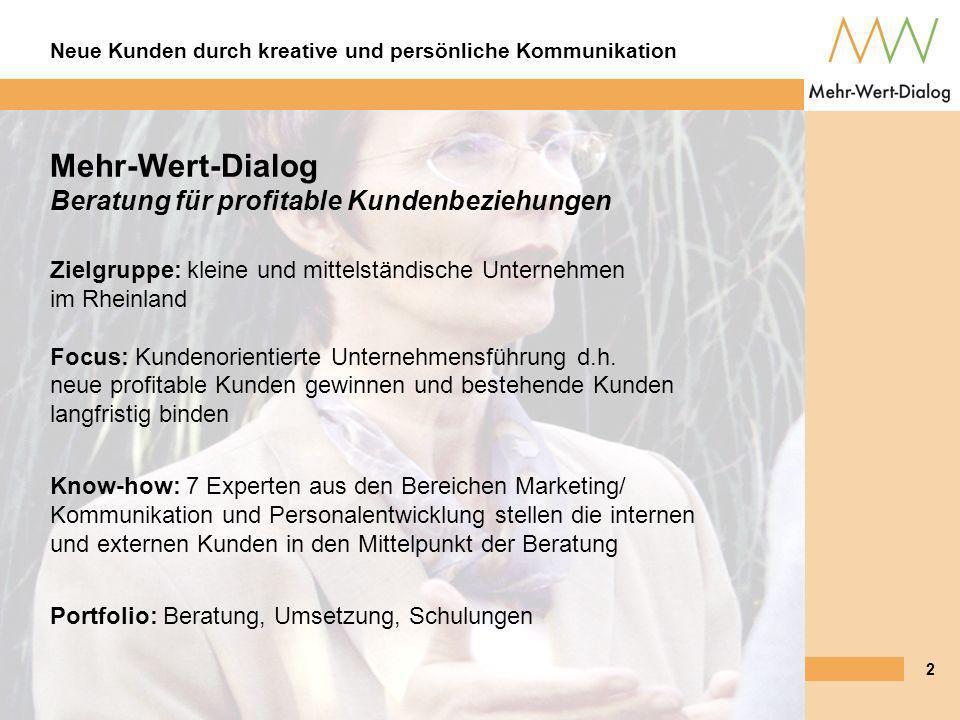 Mehr-Wert-Dialog Beratung für profitable Kundenbeziehungen Zielgruppe: kleine und mittelständische Unternehmen im Rheinland Focus: Kundenorientierte Unternehmensführung d.h. neue profitable Kunden gewinnen und bestehende Kunden langfristig binden