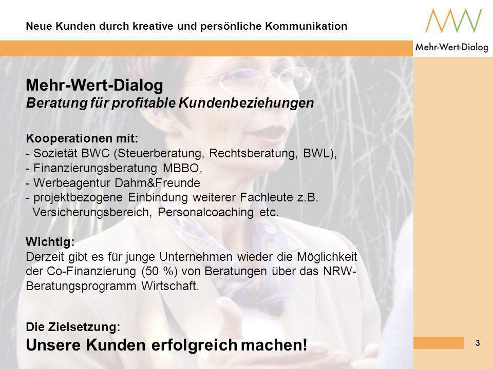 Mehr-Wert-Dialog Beratung für profitable Kundenbeziehungen Kooperationen mit: - Sozietät BWC (Steuerberatung, Rechtsberatung, BWL), - Finanzierungsberatung MBBO, - Werbeagentur Dahm&Freunde - projektbezogene Einbindung weiterer Fachleute z.B. Versicherungsbereich, Personalcoaching etc. Wichtig: Derzeit gibt es für junge Unternehmen wieder die Möglichkeit der Co-Finanzierung (50 %) von Beratungen über das NRW-Beratungsprogramm Wirtschaft.