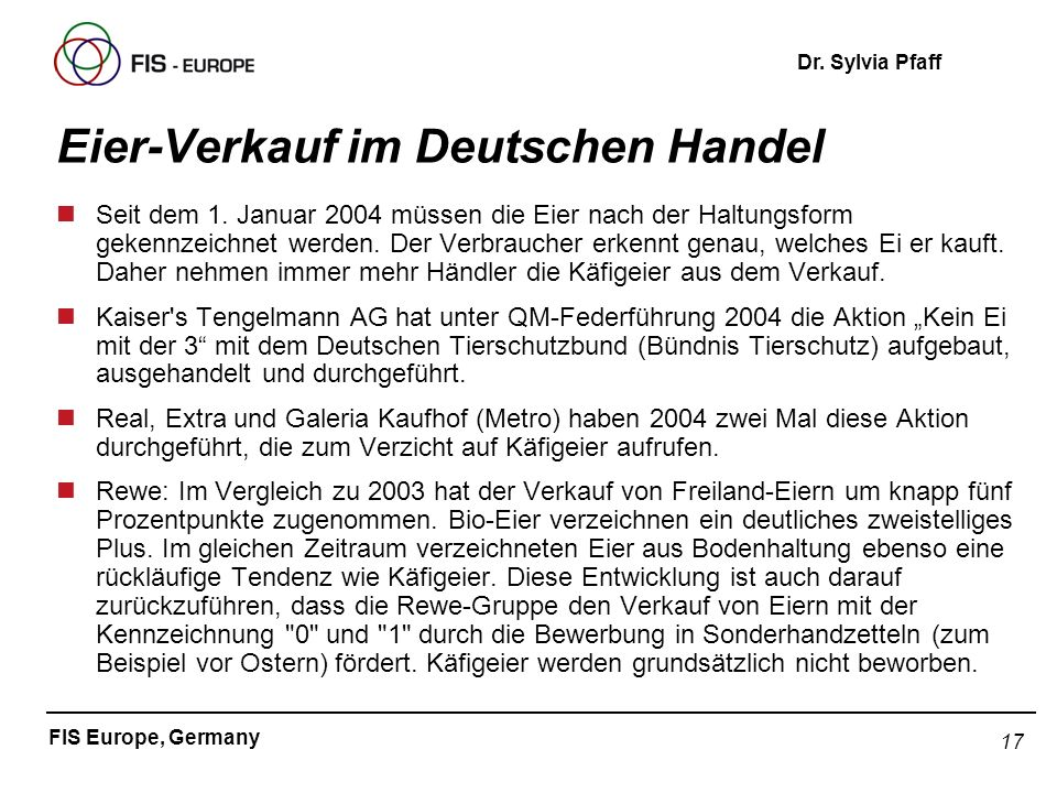 Eier-Verkauf im Deutschen Handel