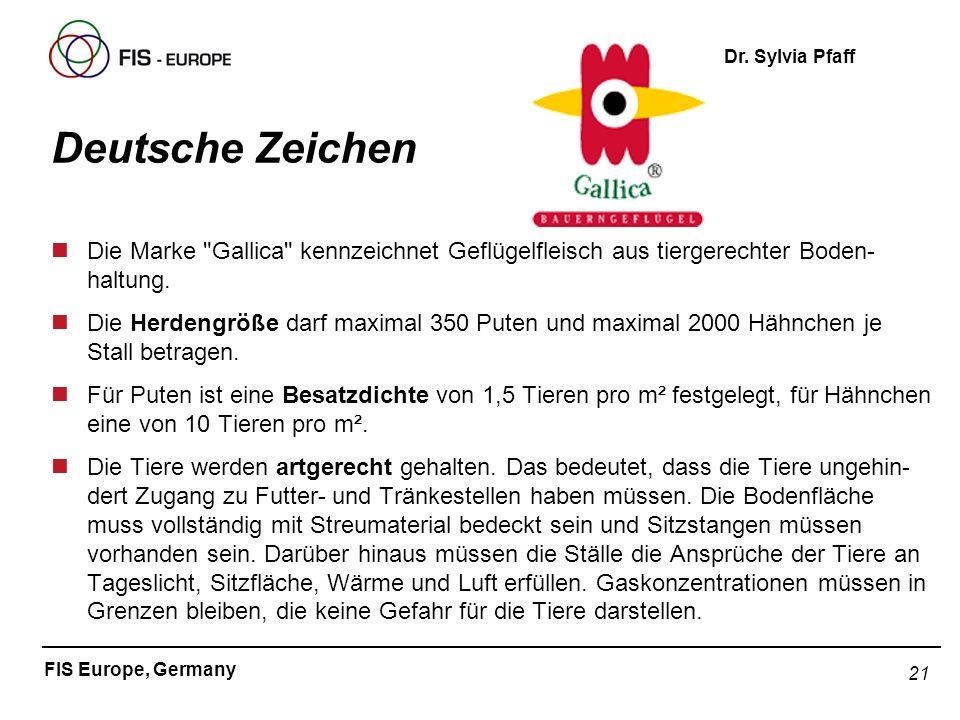 Deutsche Zeichen Die Marke Gallica kennzeichnet Geflügelfleisch aus tiergerechter Boden-haltung.