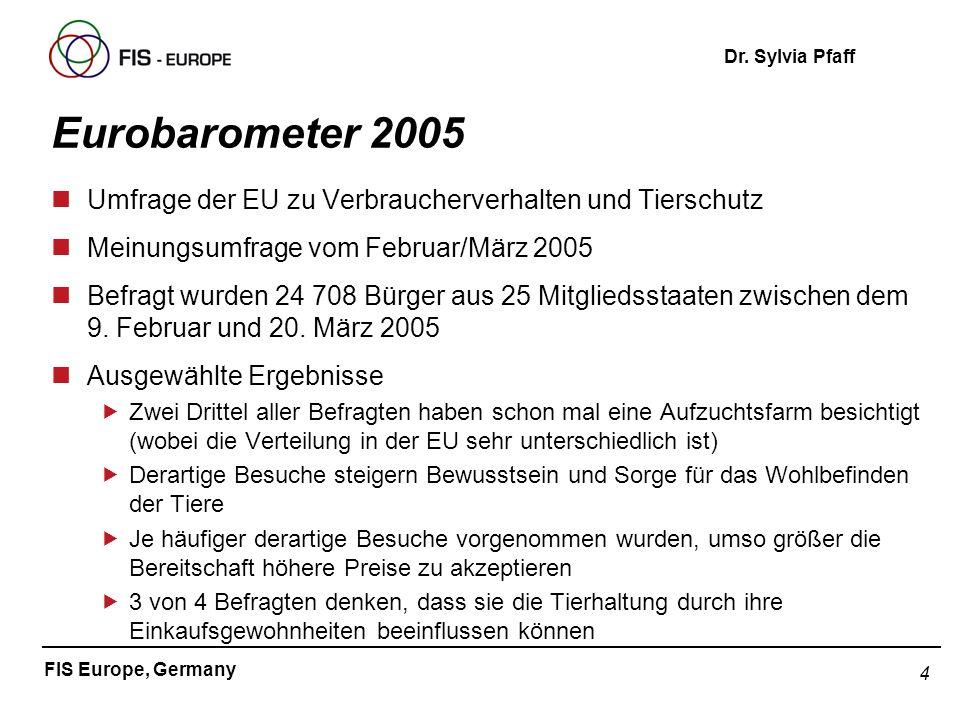 Eurobarometer 2005Umfrage der EU zu Verbraucherverhalten und Tierschutz. Meinungsumfrage vom Februar/März 2005.