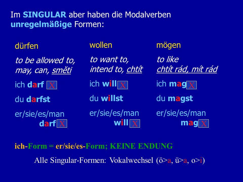 Alle Singular-Formen: Vokalwechsel (ö>a, ü>a, o>i)