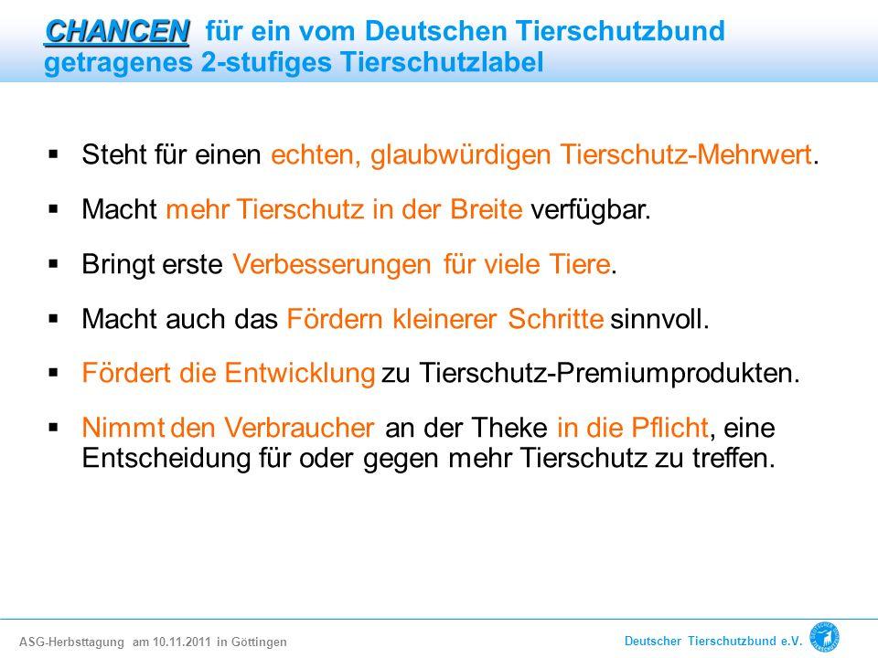 CHANCEN für ein vom Deutschen Tierschutzbund getragenes 2-stufiges Tierschutzlabel