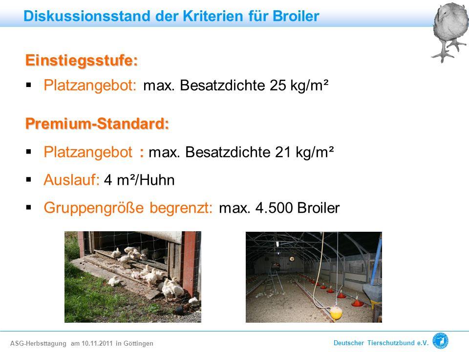 Platzangebot: max. Besatzdichte 25 kg/m²