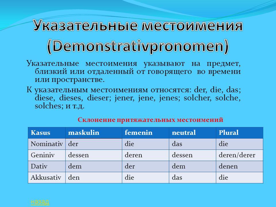 Указательные местоимения (Demonstrativpronomen)