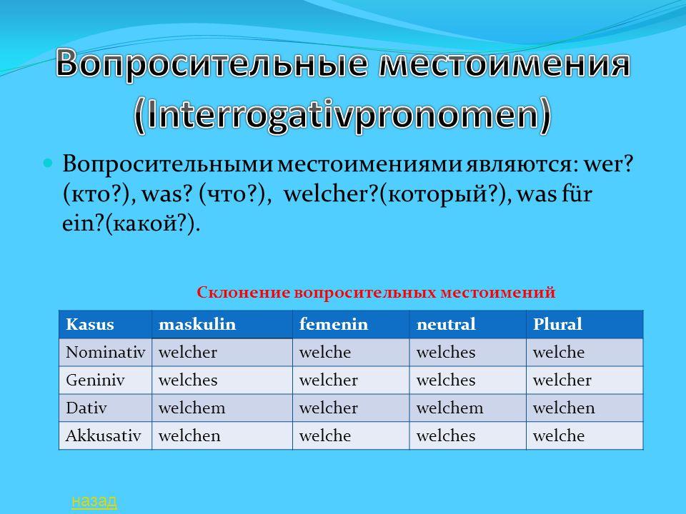 Вопросительные местоимения (Interrogativpronomen)