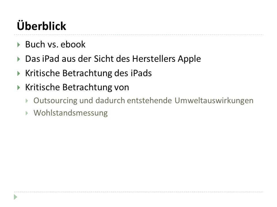 Überblick Buch vs. ebook Das iPad aus der Sicht des Herstellers Apple