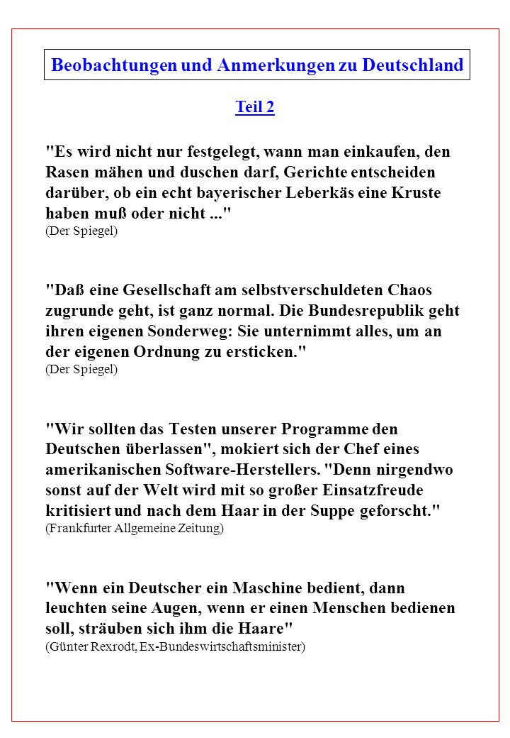 Beobachtungen und Anmerkungen zu Deutschland