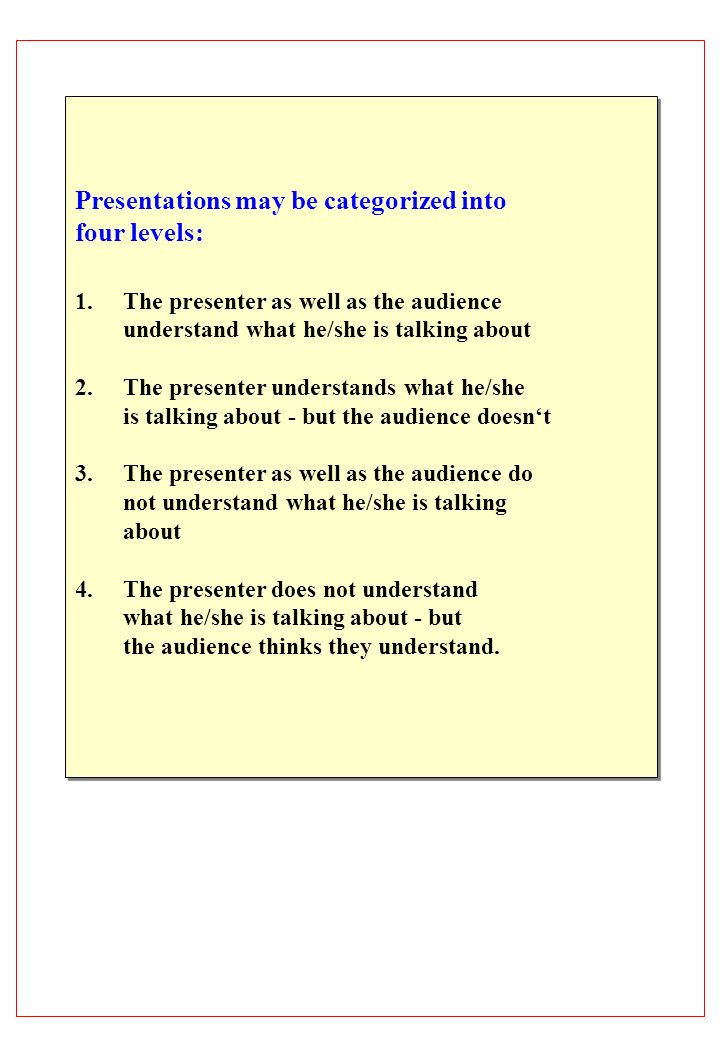 Presentations may be categorized into four levels: