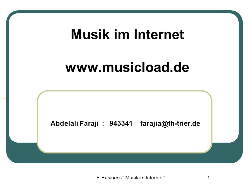 Musik im Internet www.musicload.de