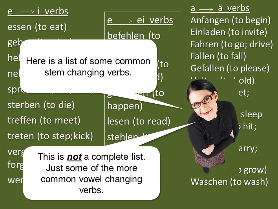 Here is a list of some common stem changing verbs.