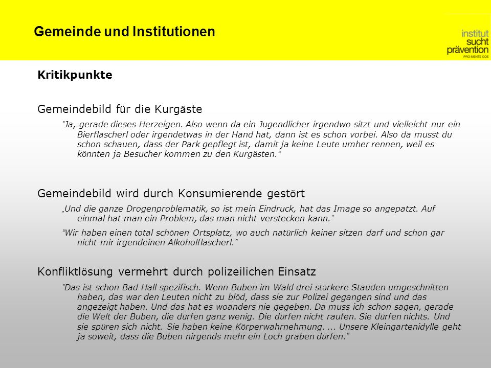 Gemeinde und Institutionen
