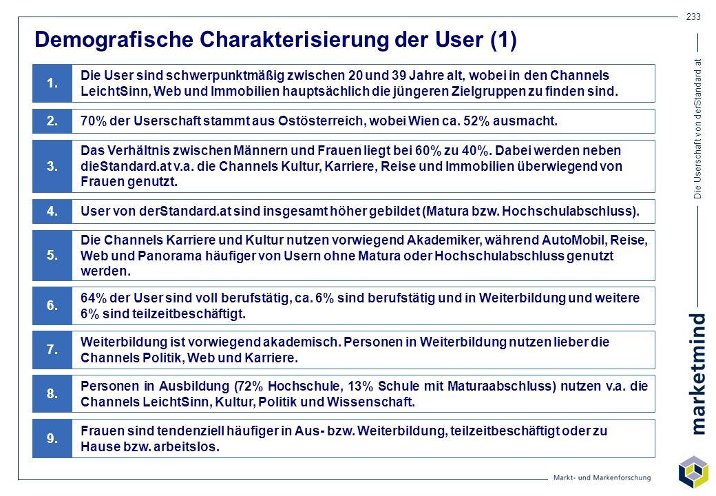 Demografische Charakterisierung der User (1)