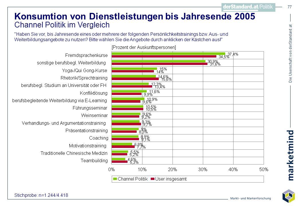 Konsumtion von Dienstleistungen bis Jahresende 2005