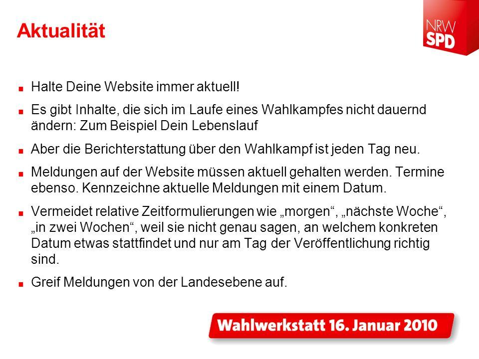 Aktualität Halte Deine Website immer aktuell!