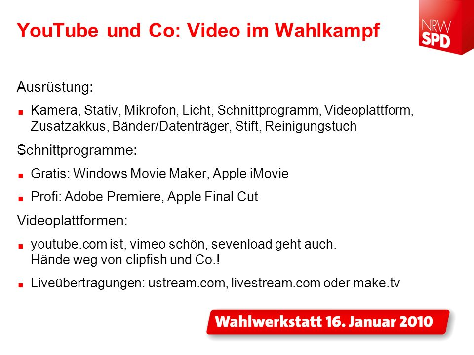 YouTube und Co: Video im Wahlkampf