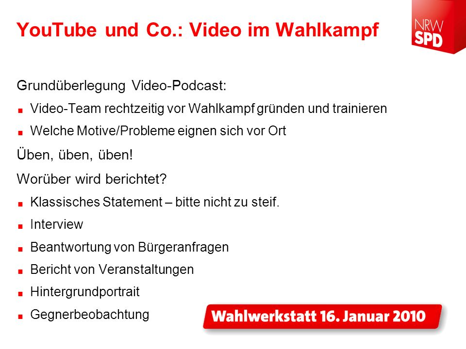 YouTube und Co.: Video im Wahlkampf