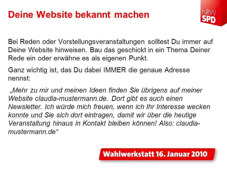 Deine Website bekannt machen