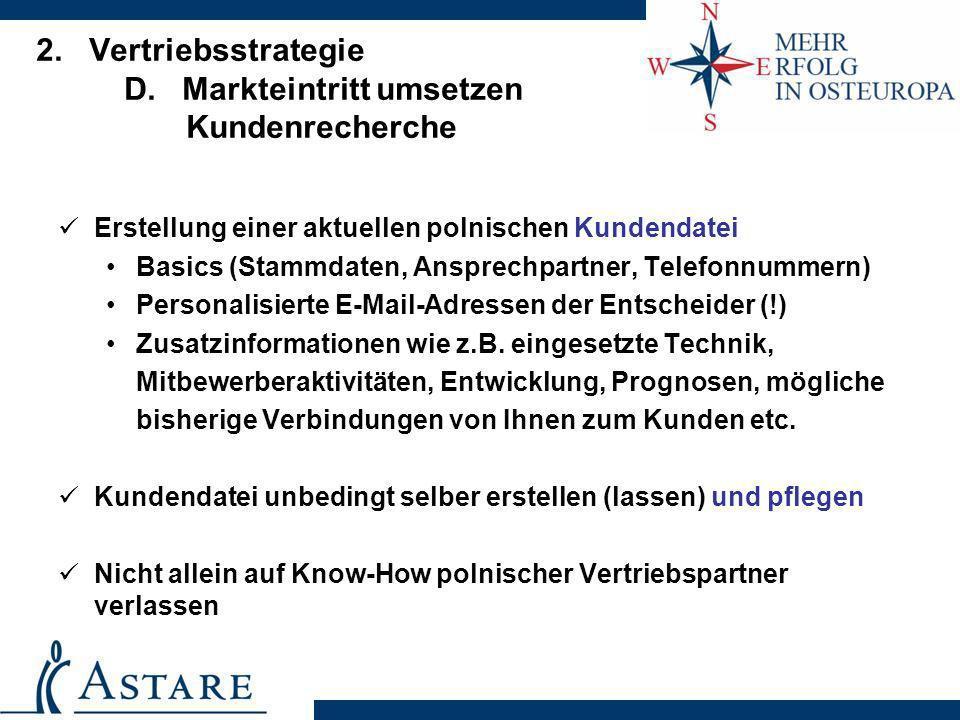 2. Vertriebsstrategie D. Markteintritt umsetzen Kundenrecherche