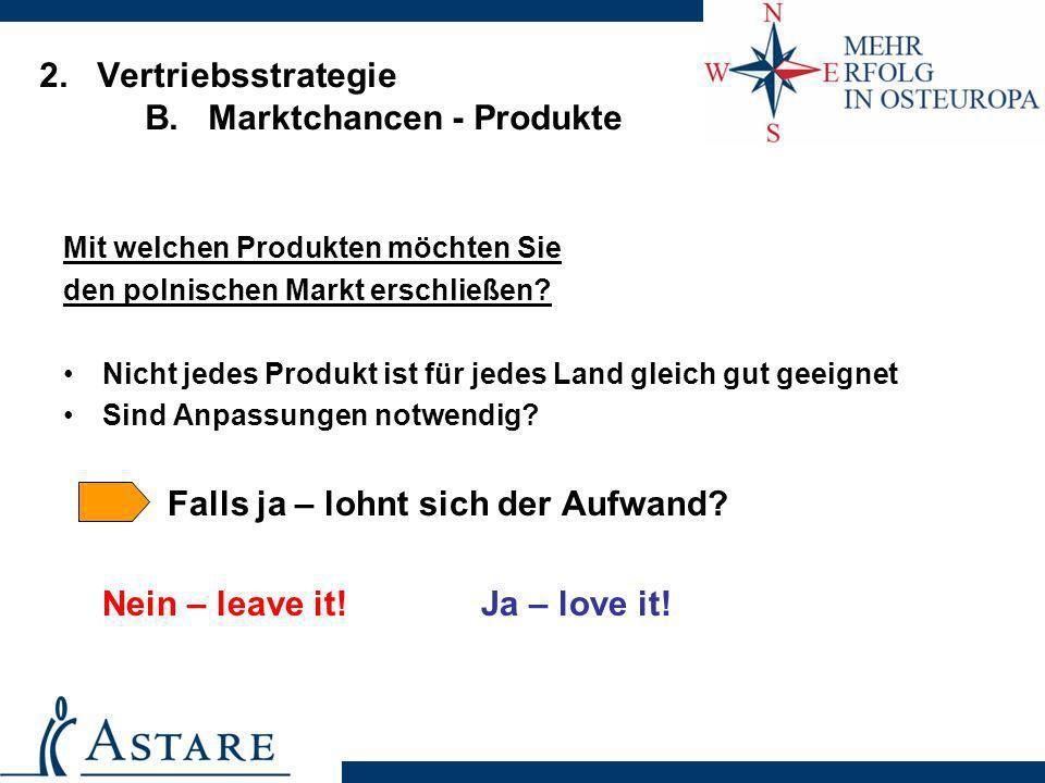 2. Vertriebsstrategie B. Marktchancen - Produkte