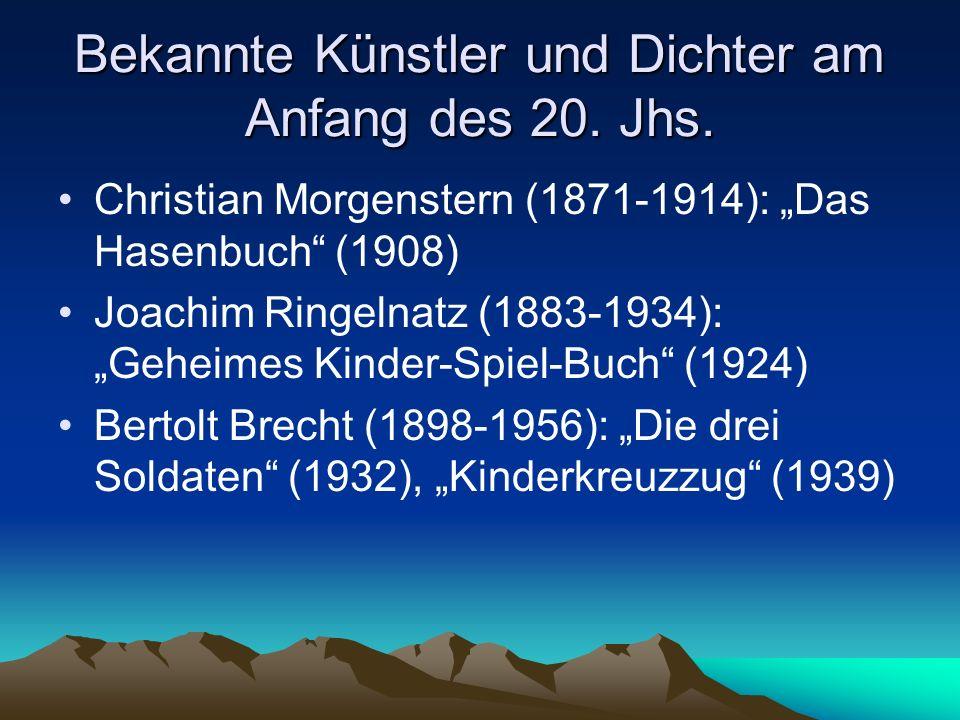Bekannte Künstler und Dichter am Anfang des 20. Jhs.