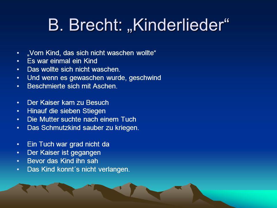 """B. Brecht: """"Kinderlieder"""